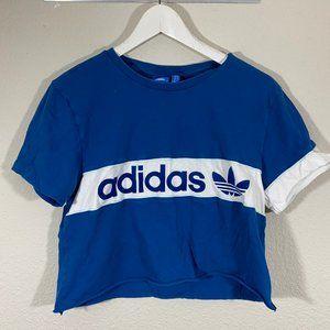 Cropped Blue Adidas Three Leave T-Shirt X-Small